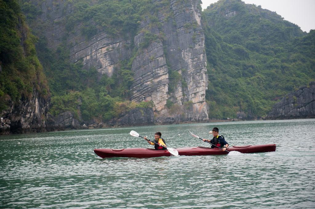 Chèo thuyền Kayak với du thuyền Dragon Bay