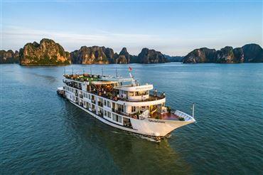 DU THUYỀN DYNASTY : Du thuyền 5*,  du lịch hạ long 2 ngày 1 đêm cao cấp